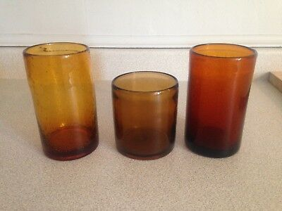 3 Early Antique Primitive Blown Amber Colour Drinking Glasses With Open Pontils