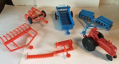 6 Vintage Ohio Art Barn Farm Implements Tractor Disc Misc Signed