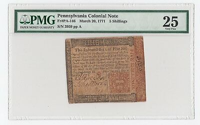 Pennsylvania Colonial Note Fr# PA-146 March 20, 1771 5 Shillings (PMG) 25 V.F.
