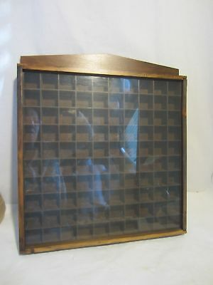 Wooden 100 thimble display case cabinet miniature wood wall holder VINTAGE