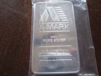 10 oz A-Mark Silver Bar .999 Fine! 10 OUNCES PURE SILVER! COMBINED SHIP SILVER!