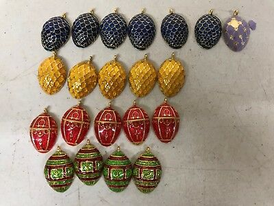 Lot of 20 Faberge Egg Wine Charms/ Pendants - Vintage Enamel Bracelet Necklace