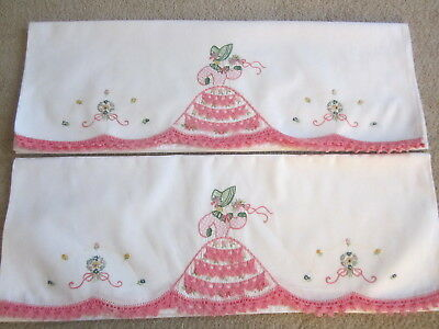 Vintage Bright White Pillowcases Southern Belle Embroidered Crochet