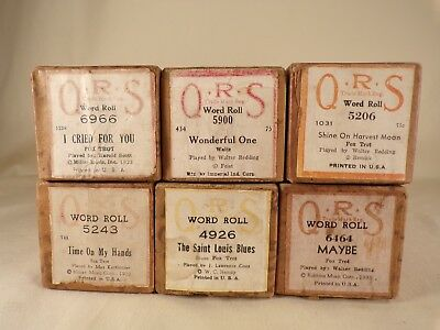 Lot of 6 Player Piano QRS Word Rolls Instrument Rolls Previously Played