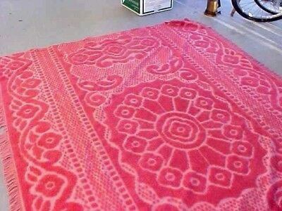 Vintage Matching Rose Color Chenille Bedspreads -Lot Of 2