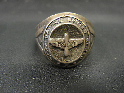 WWII Army Air Corps Air Force Sterling Silver Pilot's Ring Propeller / Wings