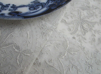 Beautiful Vintage Hand Embroidered Silvery Lined Wedding Hanky Handkerchief NOS