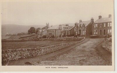 RP Early SANQUHAR - New Road, houses, church, published by M.H. Hair, Sanquhar