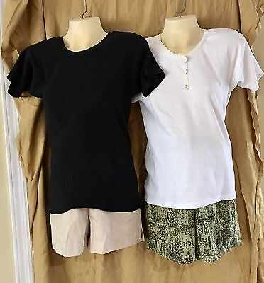 MATERNITY WEAR SHORTS   ~ SET OF TWO ~. Beige and Green Print... NEW w/tags