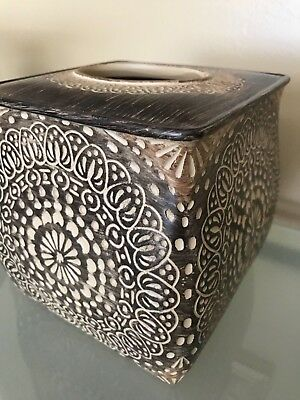 Cozumel Brown Carved Resin Tissue box Holder Bathroom Accessory African Decor