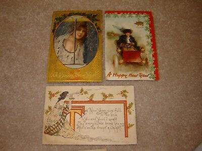 LOT K VINTAGE HAPPY NEW YEARS POSTCARDS large lot of 8 pretty ladies women