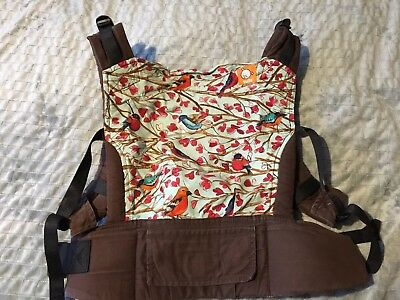 Stunning Comfortable Tula Baby Carrier - Birds Design. Brown Toddler Back Pack