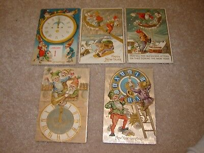 LOT L VINTAGE HAPPY NEW YEARS POSTCARDS large lot of 5 elves elf gnomes