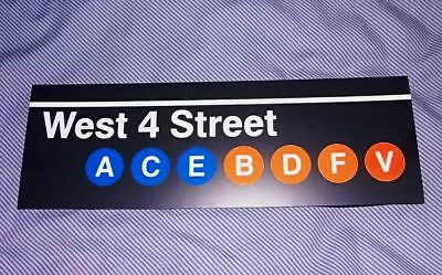 MTA NEW YORK CITY Subway Sign! - West 4 Street - Downtown! Great NYC Souvenir!!