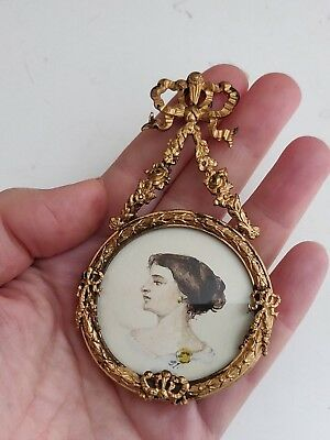 Antique Miniature Ornate Brass Gilded Frame with watercolor Portrait of the Lady