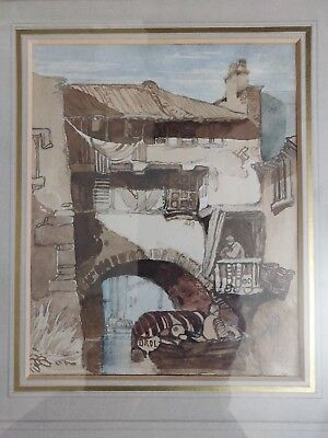 Antique original watercolor sityscape with canal signed by Brol c late 19th Cent
