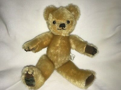 "Merrythought jointed teddy bear, Harrods, 11.5"", golden mohair, Free Shipping"