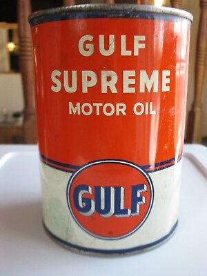 Vintage Original Gulf Supreme Motor Oil Can Quart Orange Qt