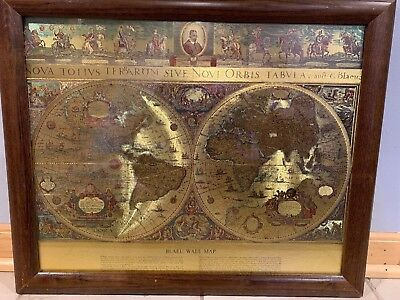 """VINTAGE GOLD FOIL BLAEU Wall map OLD and NEW WORLD 21"""" BY 17"""""""