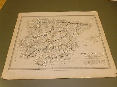 100% Original  Spain Portugal Map By Walker/sduk C1832 Vgc