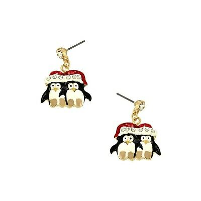 Penguin Earrings Winter Skating Ice Water Holiday Christmas Jewelry SILVER WHITE
