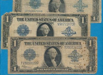 5-$1.00 1923 Large Size  Silver Certificates  Imperfect Damaged Dealers Lot
