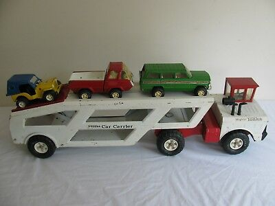 1974 Tonka Toys Mighty Car Carrier w/ Original Jeep Truck & Honey Bucket #3991