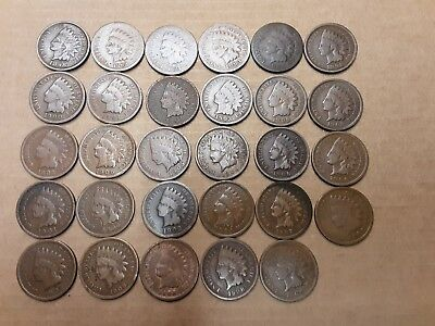 Lot of 29 Indian head cents almost all good plus a few fine with full liberty