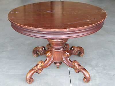 1930s Cherry Wood 42 Inch Round Dining Table Carved Legs Acanthus Leaf Design