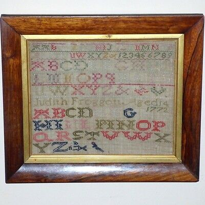 18th Century George III Silk Embroidery Alphabet Sampler Dated 1772