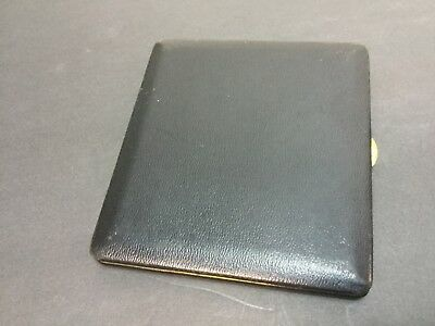 Vintage DUNHILL Black Leather Gold Tone Brass Cigarette Hard Case - France