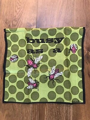 """BUSY as a BEE ~Vintage TEA TOWEL Kitchen Linen Dish Towel 24"""" Bumble Bee Tulips"""