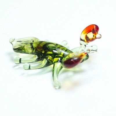 Tiny figurine glass CRAB Murano Art miniature handmade ornament crayfish. VIDEO