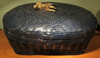 ANTIQUE ASIAN BLUE PAINTED COVERED SEWING BASKET w BRASS KOY or GOLDFISH FINIAL