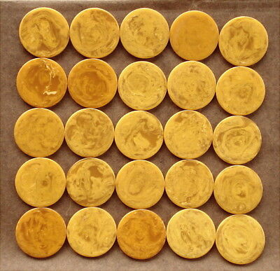 25 Catalin-Bakelite BUTTERSCOTCH MARBLED POKER CHIPS By LOWE Necklace Vintage
