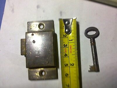 wardrobe or cupboard lock, brass, 4 lever, 63 mm, antique or vintage (OWO)