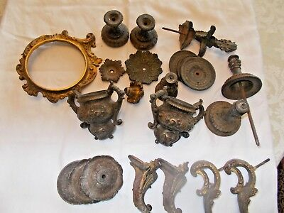 Vintage French Metal or Brass Clock Parts