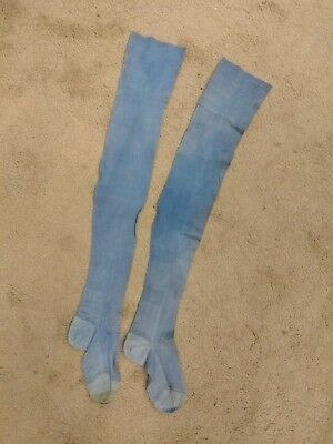 Antique Country Blue Cotton Long Stocking Socks Fading Stains but Good