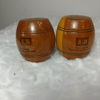 vintage salt and pepper shakers yellowstone national park flagg ranch wood