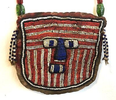 Antique Yoruba Beaded Ritual Diviners Necklace Pouch Shaman Mask African
