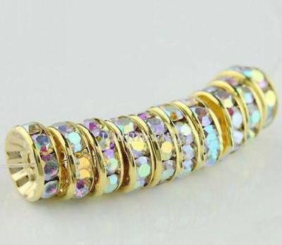 Free Shipping 50Pcs Gold Plated white AB Acrylic Loose DIY Spacer Beads 8mm