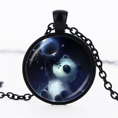 Vintage lovely panda Glass Dome Black Chain Pendant Necklace jewelry (F169 HS)