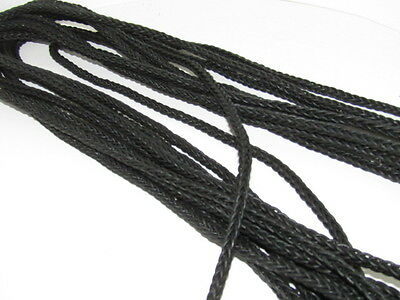 "Leather braided square cord.. 5 yards of Antique black, 8 mm (5/16"") size,  v587"