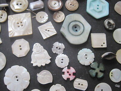 50 Vintage Carved Mother Of Pearl Mop Buttons