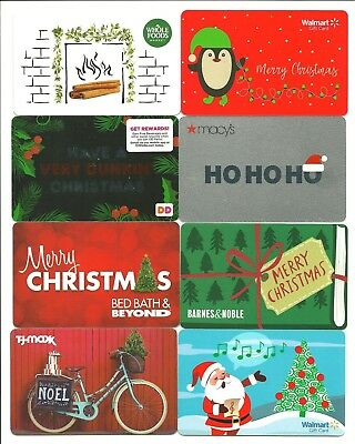 Lot of (8) 2018 Christmas Winter Holiday Gift Cards No $ Value Collectible Santa
