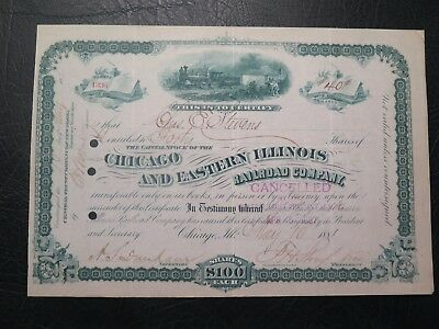 Chicago and Eastern Illinois Railroad Company stock certificate 1881