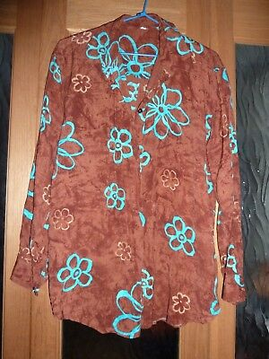 ~ Mens Vintage Retro Flower Funky Hippy Long-sleeved Cotton Shirt Size S 80's ~