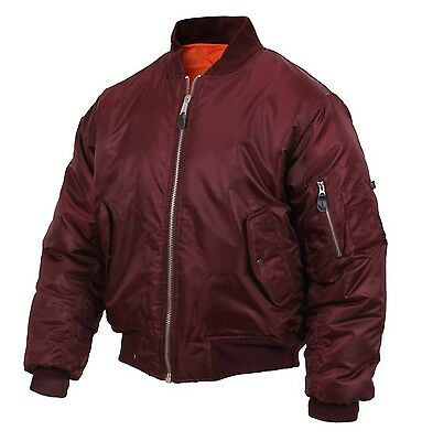 MA-1 Style Flight Jacket US Navy Air Force Army USMC USN Aviation Bomber Maroon