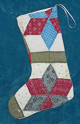 Fabulous Antique Vintage Cutter Quilt Christmas Stocking! 39 Green Burgundy