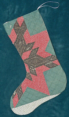 Awesome Primitive Antique Vintage Cutter Quilt Christmas Stocking! 17-33
